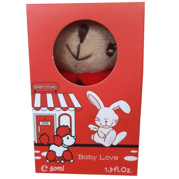 ادکلن بچه گانه عروسکی بیبی لاو مدل خرگوش قرمز کد 9-144