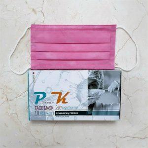 ماسک تنفسی پاک سه لایه پرستاری رنگ صورتی جعبه 10 عددی