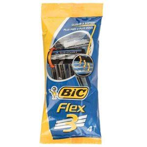 تیغ اصلاح 3 تیغه صابون دار بیک مدل Flex بسته 4 عددی