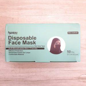 ماسک پرستاری hongyu وارداتی سه لایه ملت ملون دار رنگ مشکی ۵۰ عددی